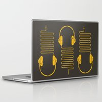 quentin tarantino Laptop & iPad Skins featuring Gold Headphones by Sitchko Igor