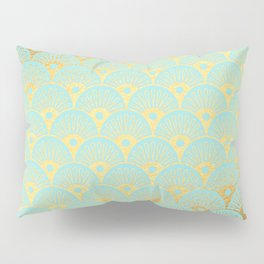 Art Deco Mermaid Scales Pattern on aqua turquoise with Gold foil effect Pillow Sham