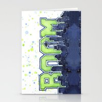 seahawks Stationery Cards featuring Seattle Legion of Boom Space Needle Skyline Watercolor  by Olechka