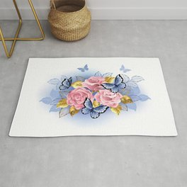 Three Pink Roses with Butterflies Rug