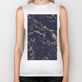 Modern luxury chic navy blue gold marble pattern Biker Tank