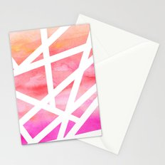 Modern handdrawn stripes geometric pink watercolor Stationery Cards