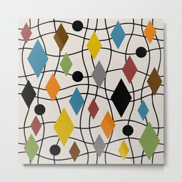 Colorful Mid Century Modern Geometric Abstract 121 Metal Print