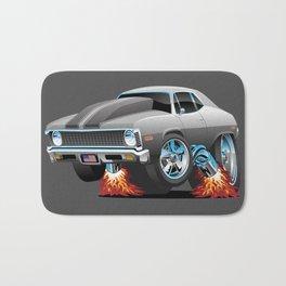 Classic American Muscle Car Hot Rod Cartoon Bath Mat