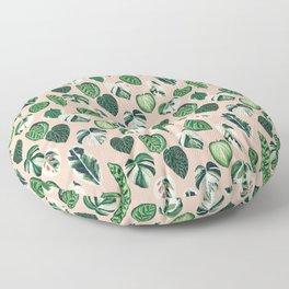 Variegated Plants - houseplants, plants, leaves, tropical, palm print, palms Floor Pillow