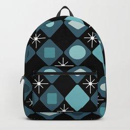Mid Century Modern Black & Turquoise Diamonds Backpack