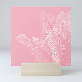 Millennial Pink illumination of Heart White Tropical Palm Hawaii Mini Art Print