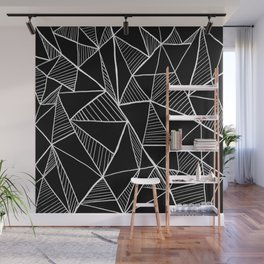 Black and white pyramid pattern Wall Mural
