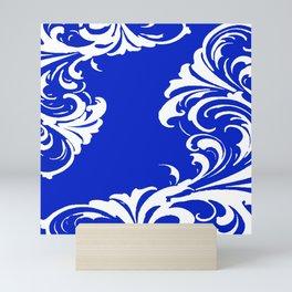 Damask Blue and White Mini Art Print