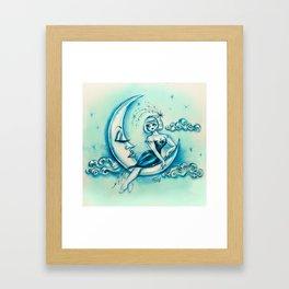 Girl on the Moon Framed Art Print