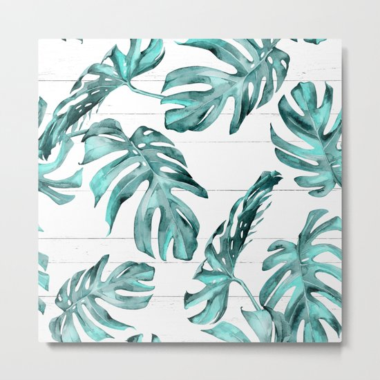 Turquoise Palm Leaves on White Wood Metal Print