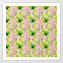 Pastel pink green hand painted tropical leaves pattern Art Print