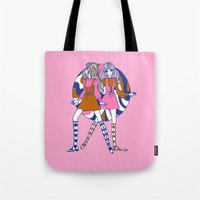 woodstock Tote Bags featuring Woodstock Dollygirls by Emily Brinkley