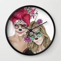 dia de los muertos Wall Clocks featuring Dia de los muertos by alicetischer