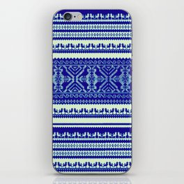 nordic pattern with singing birds in blue iPhone Skin