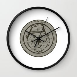 Cool Gift For The Smokey Bear Fan In Your Life T-shirt Design Of A Bear Wearing A Hat In Gray Tone Wall Clock