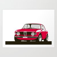 gta Art Prints featuring Alfa Romeo Giulia Sprint 1600 GTA. by Graphic Deluxe