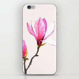 magnolia watercolor painting iPhone Skin