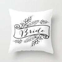 bride Throw Pillows featuring Bride by Alexis Wright