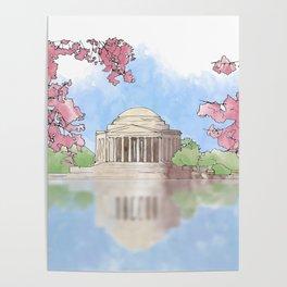 Cherry Blossom - Jefferson Memorial Poster
