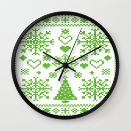 Christmas Cross Stitch Embroidery Sampler Green And White Wall Clock