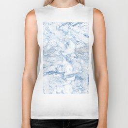 Modern stylish blue white trendy marble pattern Biker Tank