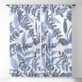 Watercolor branches - blue Sheer Curtain