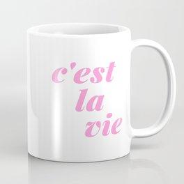 C'est La Vie French Language Saying in Bright Pink and Orange Coffee Mug