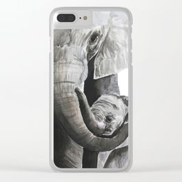 Elephant mom Clear iPhone Case