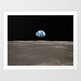 Earthrise Over Moon Apollo 11 Mission Art Print