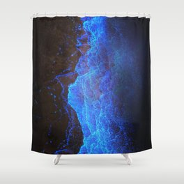 Night Ocean Glowing Waves - Bioluminescent Plankton Shower Curtain