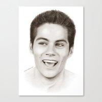 stiles stilinski Canvas Prints featuring Dylan O'Brien (Stiles Stilinski) by maichan