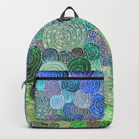 Abstract blue& green glamour glitter circles and polka dots for ladies Backpack
