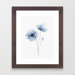 Blue Watercolor Poppies Framed Art Print
