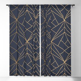 Navy blue Gold Geometric Pattern With White Shimmer Blackout Curtain