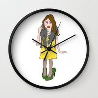 girly Wall Clocks featuring Girly by Sigrid Hustad