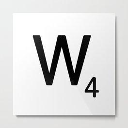Letter W - Custom Scrabble Letter Tile Art - Scrabble W Initial Metal Print