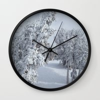 snow Wall Clocks featuring Snow by Chris Root