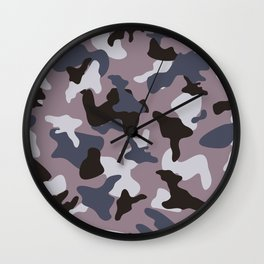 Gray army camo camouflage pattern Wall Clock