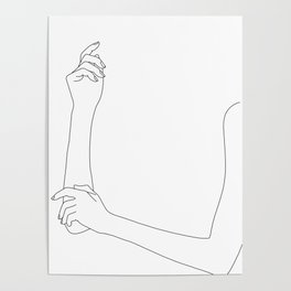 Folded arms line drawing - Alda Poster