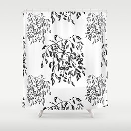Wisteria Hysteria Black Ink Drawing  Shower Curtain