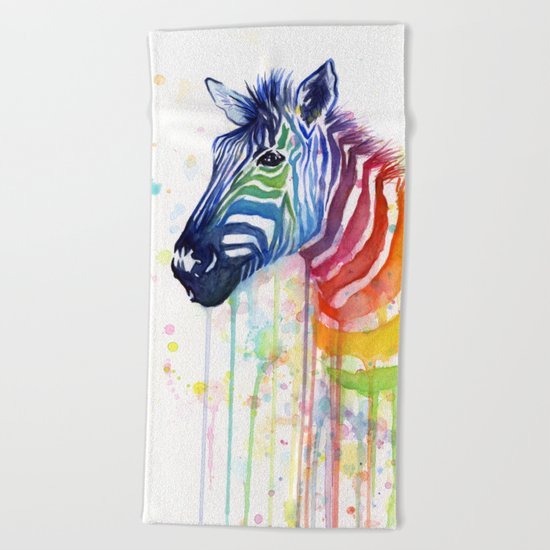 Zebra Watercolor Rainbow Painting | Ode to Fruit Stripes Beach Towel