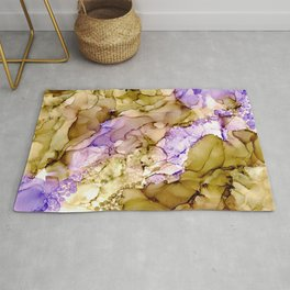 Purple and Brown Silk: Original Alcohol Ink Painting Rug