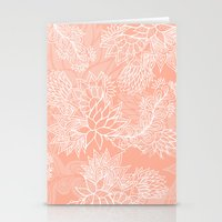 aelwen Stationery Cards featuring Chic hand drawn floral pattern on pink blush by Girly Trend