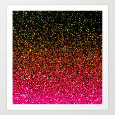 Confetti Glitter Sparkle Splatter Pink Orange Yellow Art Print