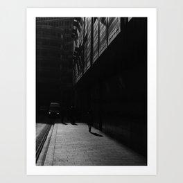 Urban shadows - Monochrome street scene. Art Print