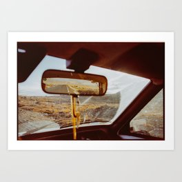 Driving in Rural Scandinavia - Closeup of Wild Landscape in Car Art Print