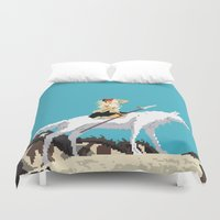 princess mononoke Duvet Covers featuring Princess Mononoke by 8-bit Ghibli
