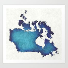 Canada map with drawn lines and blue watercolor illustration Art Print