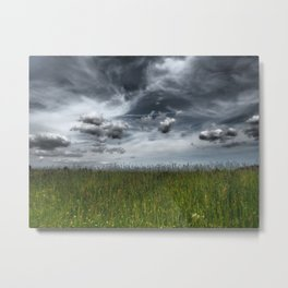 Grassland With Dark Clouds, Germany - Landscape Photography Metal Print